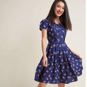 Modcloth Fervour Blue Parisian Dog Print Dress XL